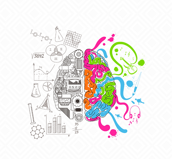 Graphic image design of a brain. Left side shows logical icons and the right side shows creative icons and is splashed with bright blue, green, pink and orange colours.