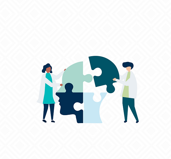 Graphic design image of 2 people putting together a puzzle a mind