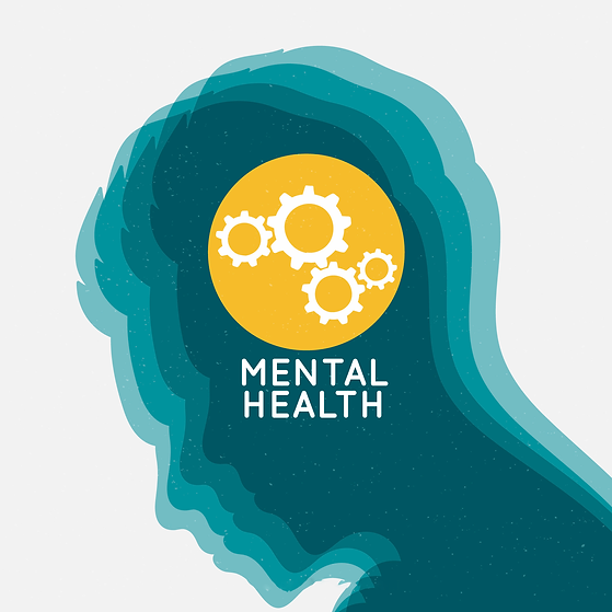 Graphic design image of a person looking down, in different shades of teal. Yellow circle in the head area with cogs working together. The words written underneath in white says Mental Health.