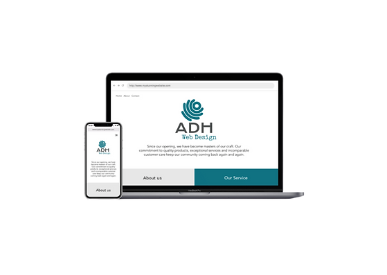 Laptop and mobile showing stunning websites for ADH Web Design.