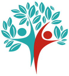 Wellbeing through Creativity Logo: One Teal Person and One Red Person, representing feeling good vs bad.