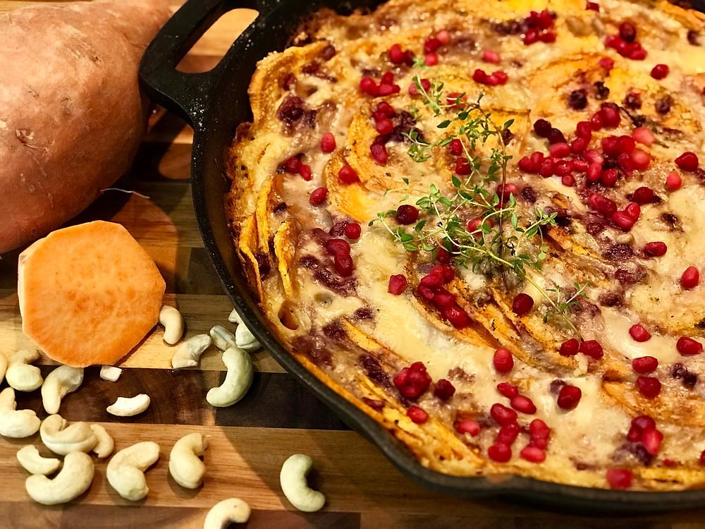 Sweet Potatoes Au Gratin with Pomegranate