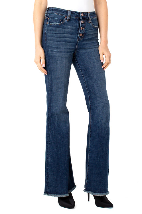 High Rise Flare Jeans with Raw hem