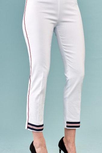 Varsity Stripe Cuff White Pants