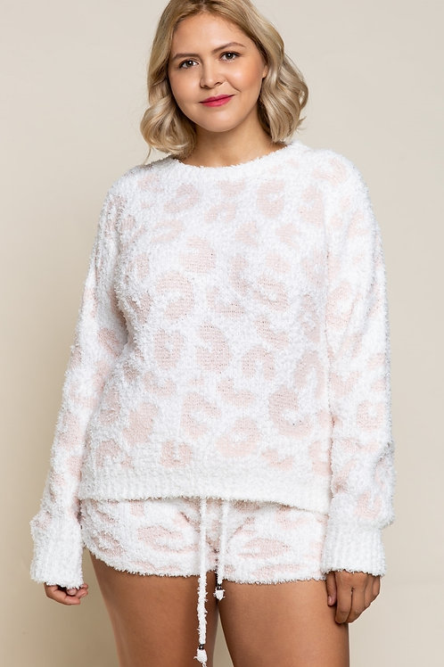 Plus Pink & White Leopard Pullover