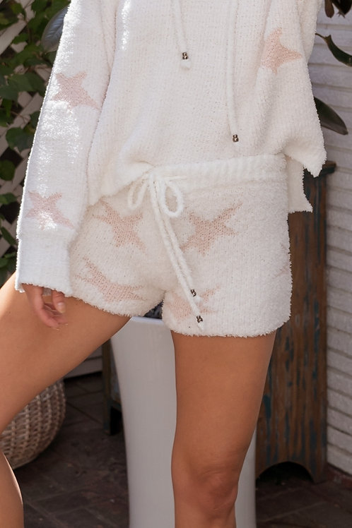 Pink & White Berber Star Shorts