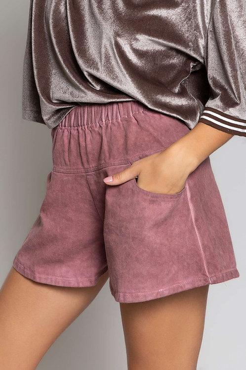 Washed Denim Red Shorts