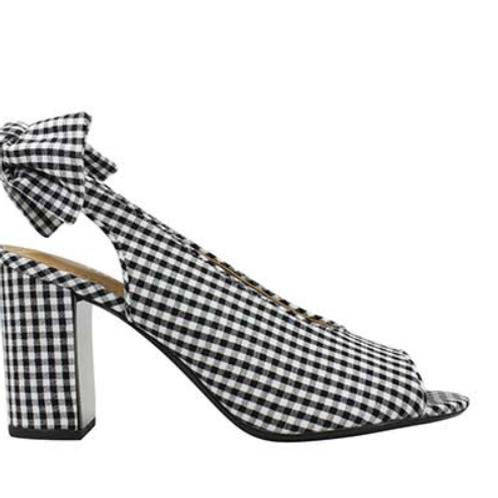 Black & White Gingham Brietta Heel