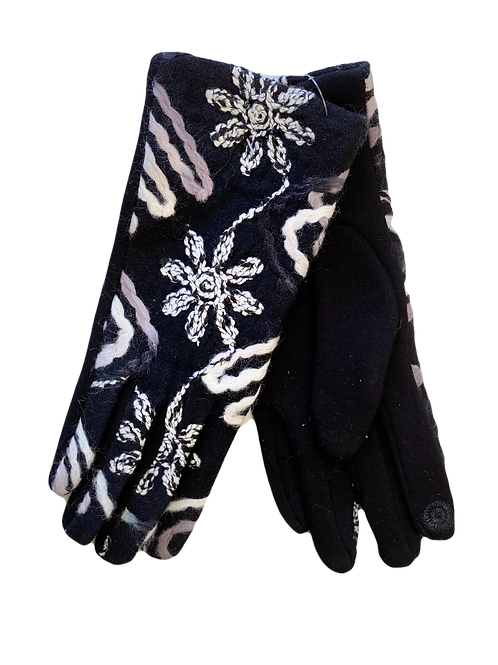 Purple & White Knit Floral Gloves