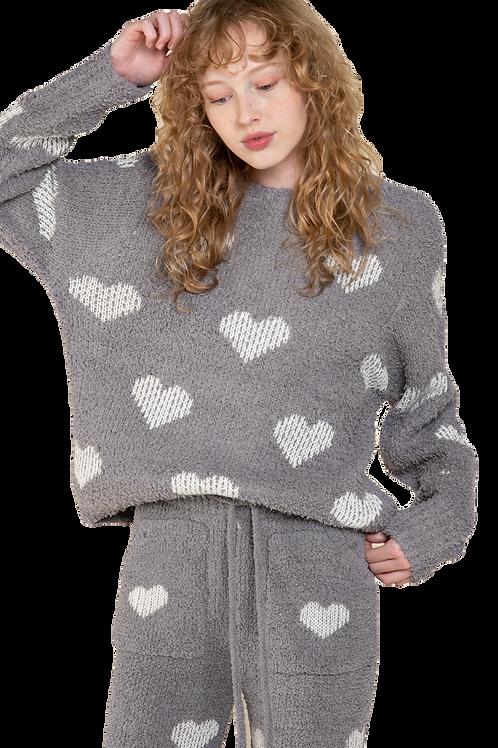 Berber Grey & White Heart  Pullover