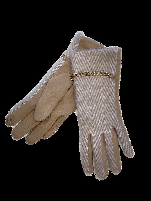 Light Beige Herringbone Gloves With Chain