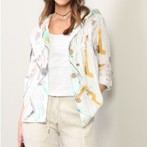Abstract Watercolor Linen Jacket