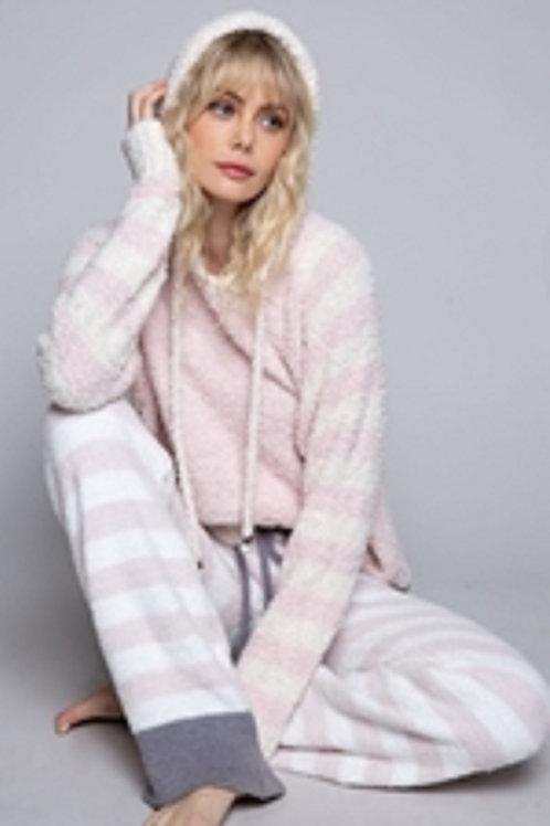 Berber Cozy Pink Stripe Hoodie