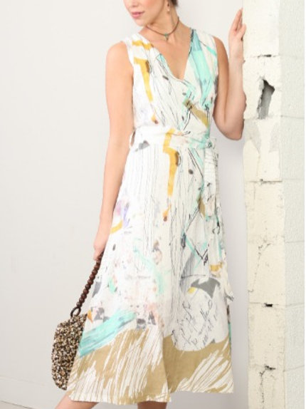 Abstract Watercolor Linen Wrap Dress