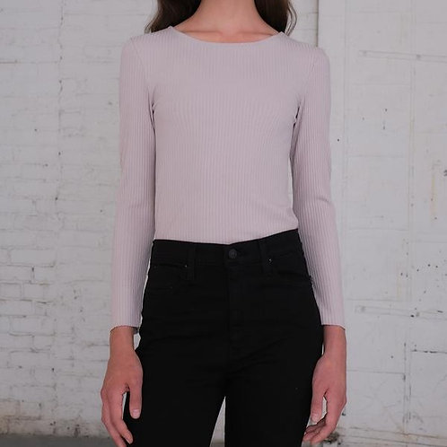 Cropped Ribbed Long Sleeve Shirt