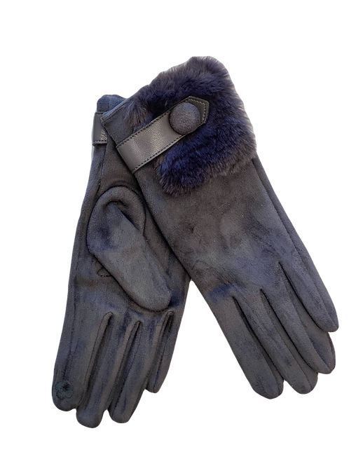 Grey Faux Suede Gloves