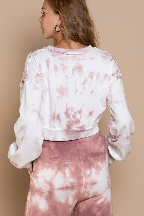 Rose Drop Tie-Dye French Terry Croped Top