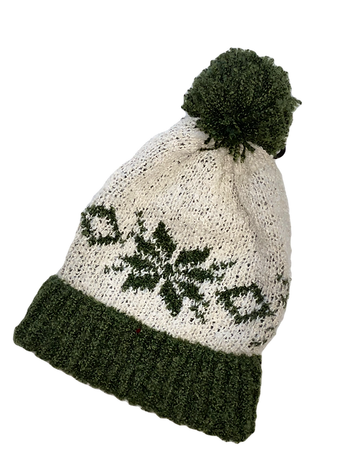 Green and White Knit Beanie