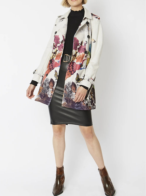 Ultra Suede Floral and Butterfly Print Trench Car Coat