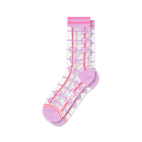 Fun Socks- Pink Chain Link Sheer Sock