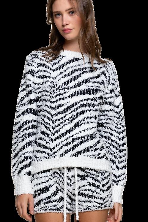 Berber Black and White Zebra  Pullover