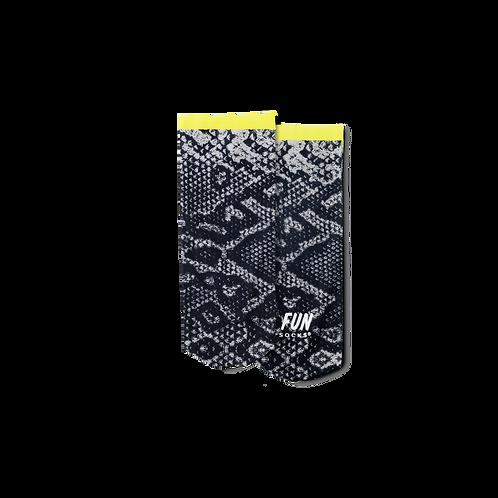 Fun Socks -Monochrome Snake Print with Neon Cuff