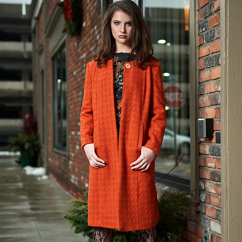 Orange Boucle Houndstooth Top Coat