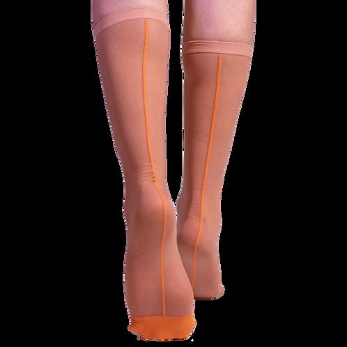 Fun Socks - Orange Mesh Half Calf Sock