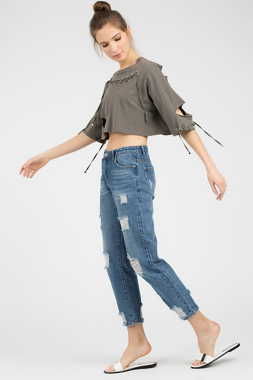 Distressed Cropped Top