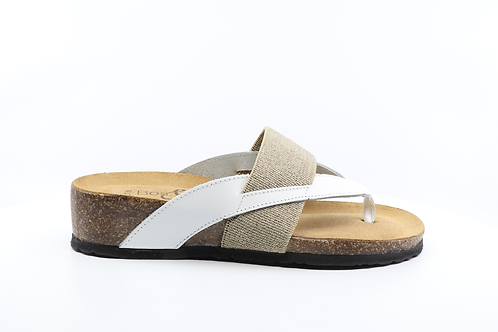 Lars White and Leather Sandal