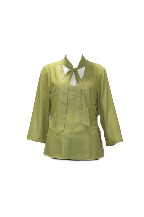 Green Tie Blouse