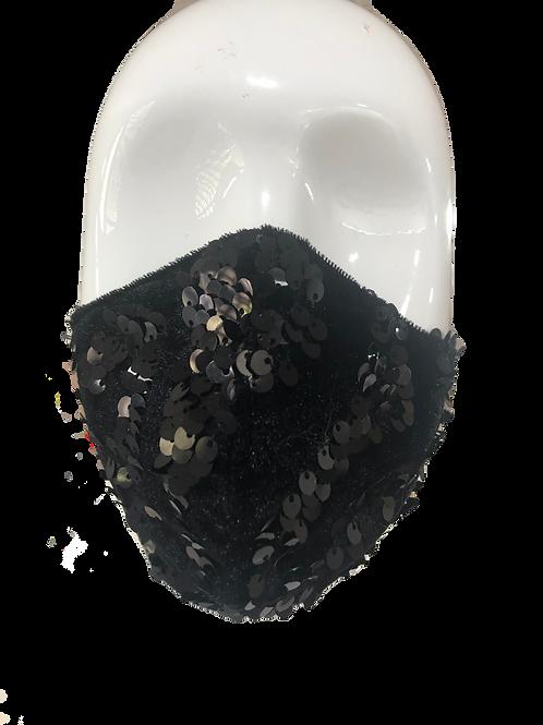 Black Velvet Sequins Fashion Mask