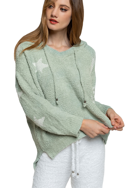 Berber Green and White Stars Hoodie