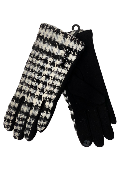 Knit Black and White Houndstooth Gloves