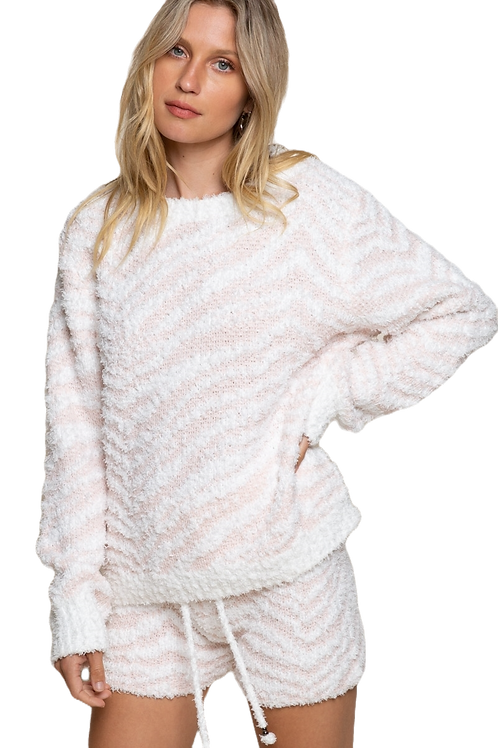 Pink and White Zebra Pullover