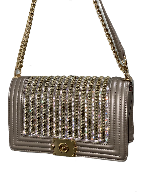 Tan & Gold Glam Crossbody Bag