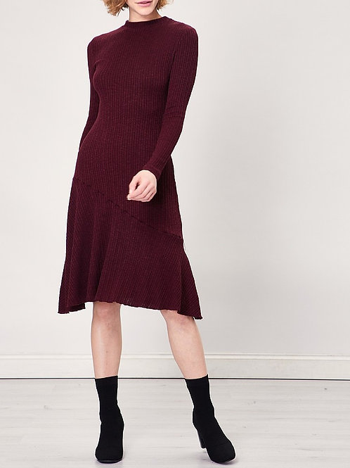 burgundy Ribbed Knit  Long Sleeve Midi Dress