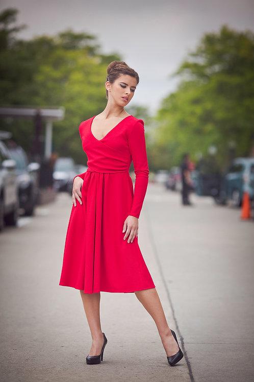 Asymmetrical Red Long Sleeved Dress