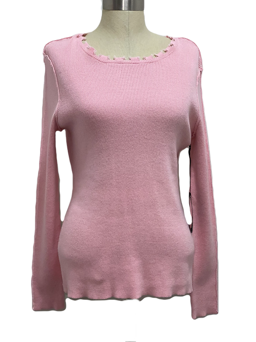 Pink Raw Edge Sweater
