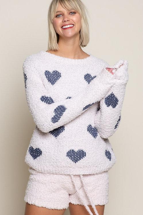 Berber Pink & Blue Heart  Pullover