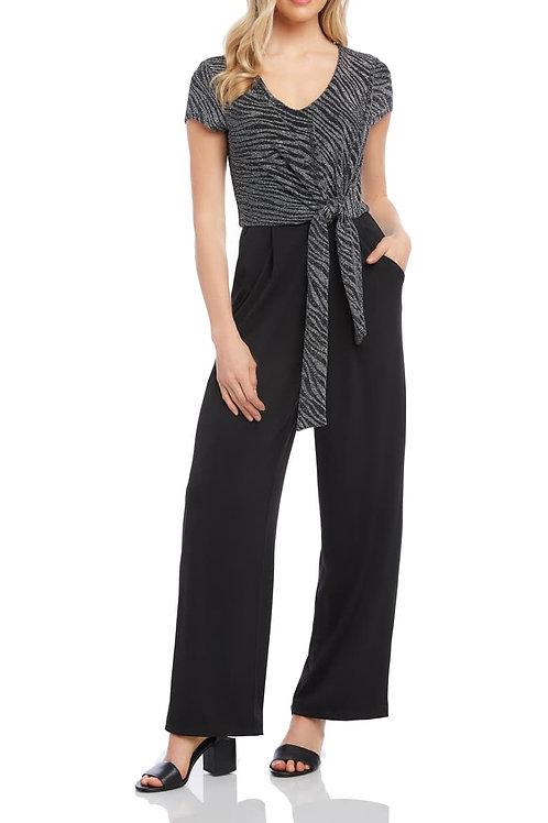 Zebra-Print Tie-Front Jumpsuit