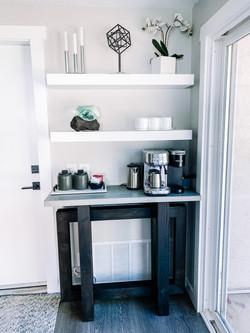 Custom built in shelves + Coffee Bar
