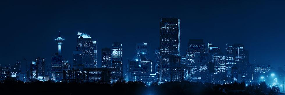 Calgary downtown panorama at night in Al