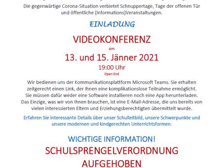 Videokonferenz Schnuppertage