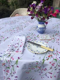 Sweet pea tablecloth