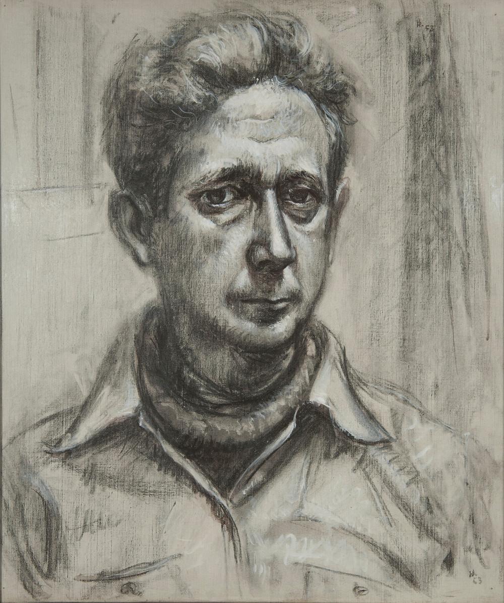 Autoportrait au fusain et huile sur toile de l'artiste Jean Hélion