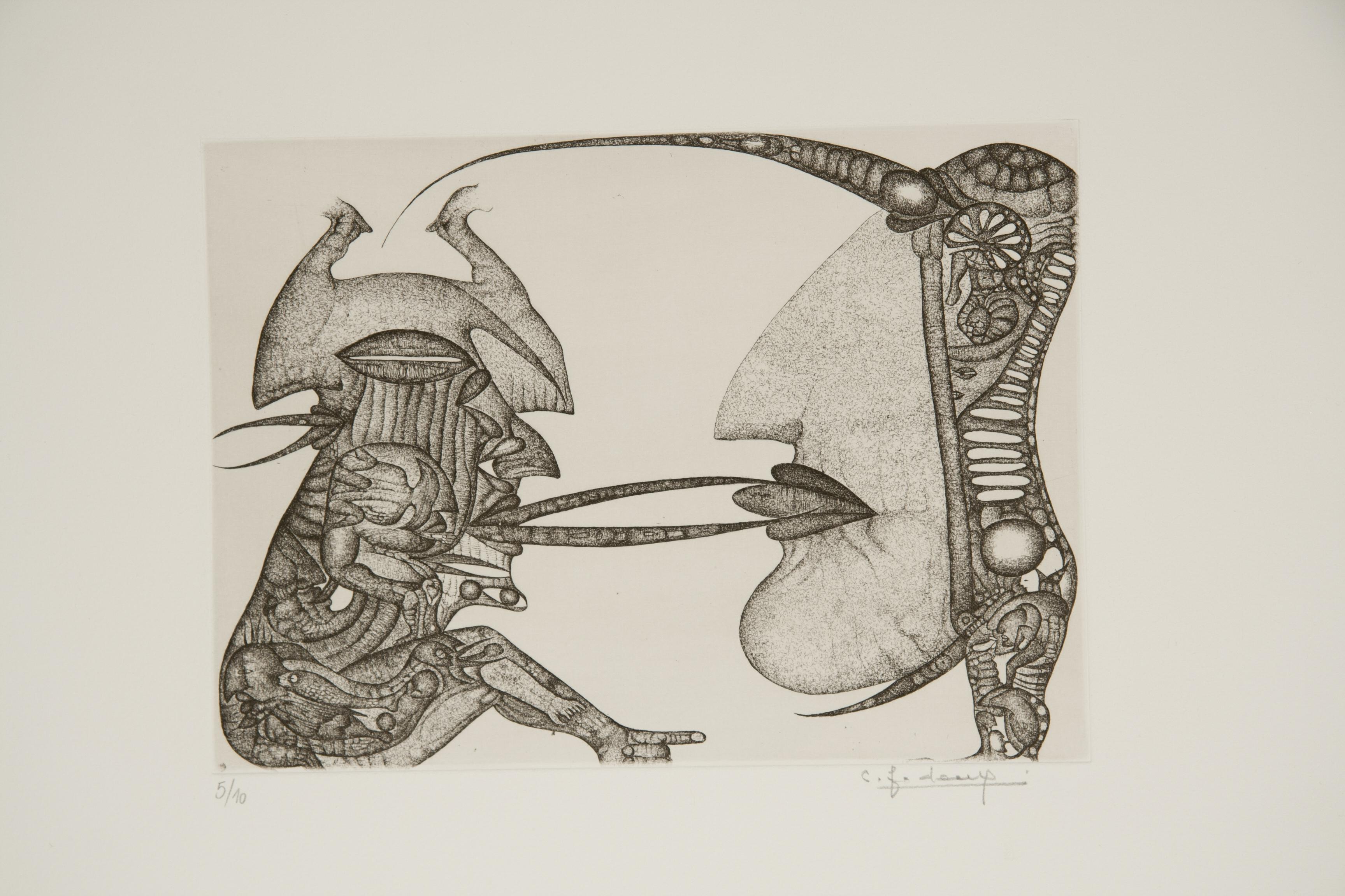 Cécile Reims, Sans titre, d'après un dessin de Fred Deux à l'encre de Chine, 1970 Eau-forte, 14 x 21