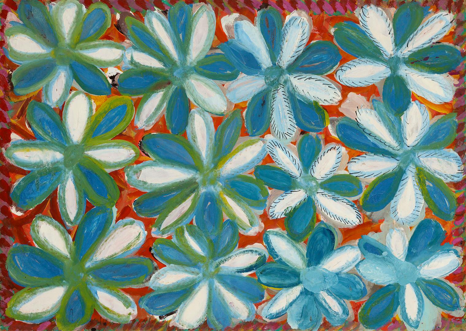 Anselme Boix-Vives, Fleurs bleues et blanches, 1965