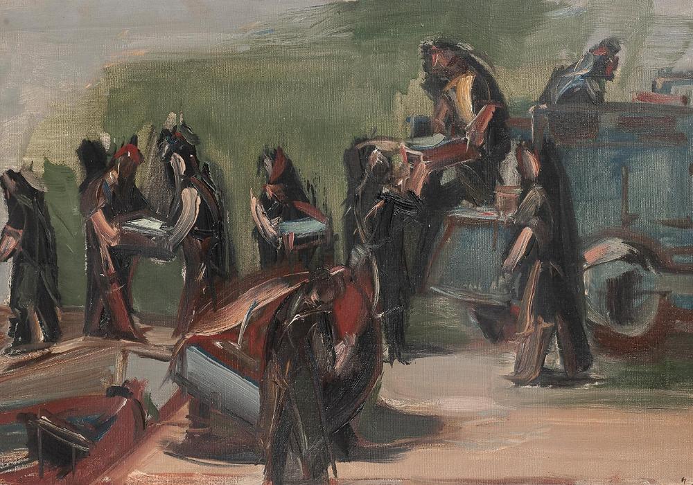 Peinture à l'huile sur toile de l'artiste Jean Hélion qui représente des sardiniers