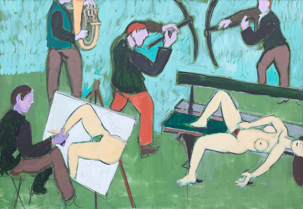 Une peinture à l'acrylique sur toile de l'artiste Jean Hélion intitulée trombone pour un peintre